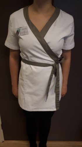 Uniform-Jasjes wit met taupe